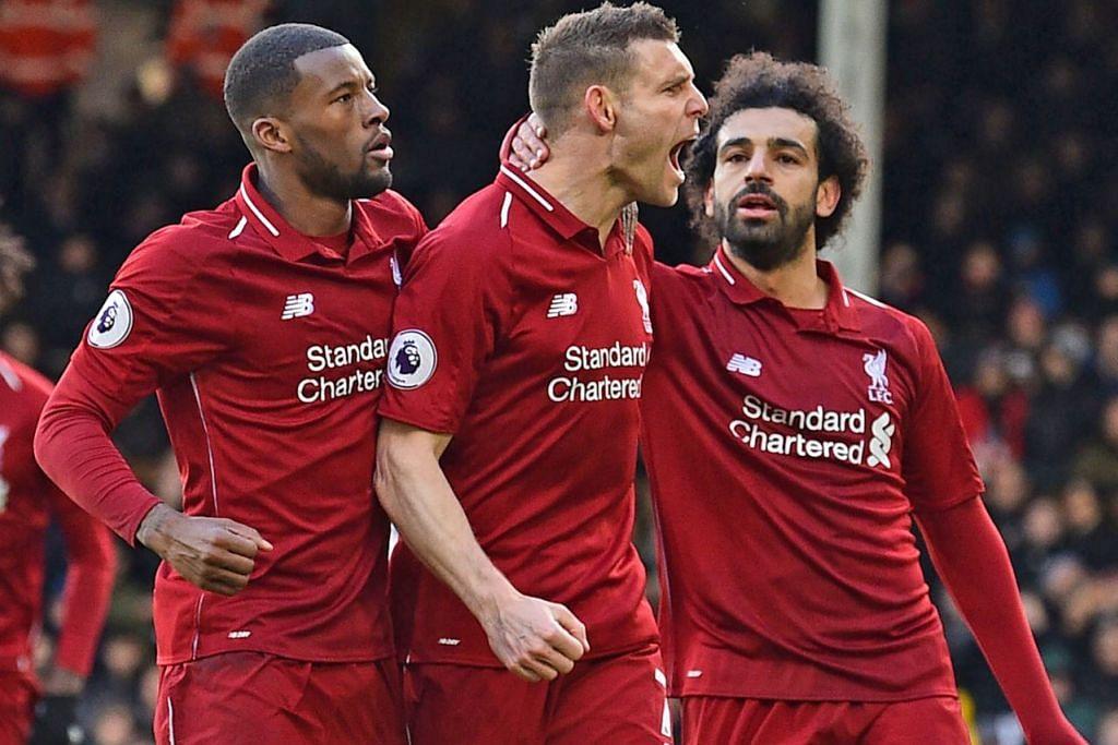 PERLU KEKALKAN PRESTASI: James Milner (tengah) dan rakan pasukan meraikan gol kedua yang dijaringkannya semasa Liverpool bertemu Fulham. Pemain Liverpool perlu mengatasi Spurs - yang dianggap perlawanan paling sukar sehingga akhir musim. - Foto AFP