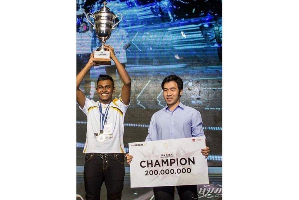 DETIK-DETIK CEMERLANG: Amraan Gani (atas) menjulang trofi Kejohanan Asia Tenggara (SEA) yang diadakan di Bandar Ho Chi Minh, Vietnam, tiga tahun lalu sekalipun waktu itu beliau dianggap 'muka baru' dalam arena e-sports. – Foto EA / TEAM FLASH