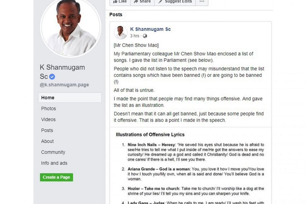 CONTOH LAGU YANG MUNGKIN DIANGGAP OFENSIF: Encik Shanmugam berkata senarai lagu yang diberikannya di Parlimen kelmarin adalah contoh lagu dengan lirik yang boleh dianggap ofensif oleh orang ramai, tetapi ia tidak bermakna semua lagu tersebut akan diharamkan. - Foto TANGKAP LAYAR FACEBOOK K. SHANMUGAM