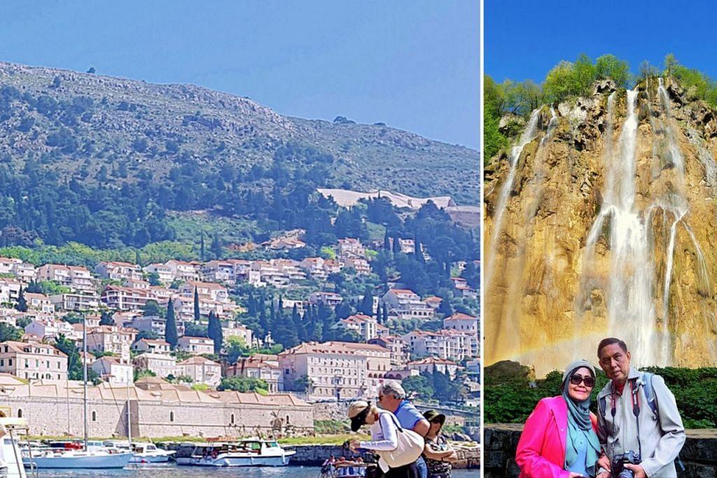 (Kanan) JADI KENANGAN: Penulis dan isteri, Cik Hamimah Lazim merakamkan gambar berlatarbelakangkan air terjun di Taman National Plitvice. (Kiri) ANTARA DAYA TARIKAN: Pelabuhan Dubrovnik merupakan antara tempat yang menjadi tumpuan ramai. - Foto-foto ihsan SAHARI SARIMAN