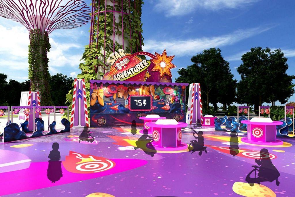 LUANGKAN MASA BERSAMA KELUARGA DI PESTA: Selain unsur visual dan watak 'Toy Story', pesta menampilkan pelbagai jenis permainan yang pasti menyeronokkan buat si cilik. Misalnya ada lumba kereta Buzz Lightyear dan Bo Peep's Adventure.  – Foto TAMAN DI PERSISIRAN