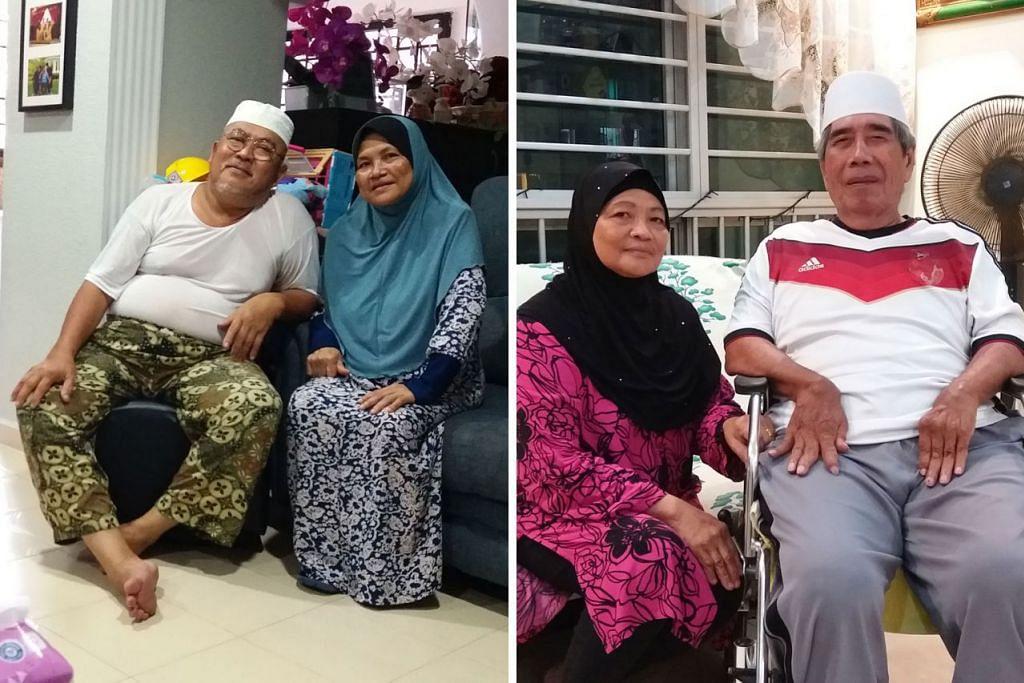 BEKAS PENDUDUK CERITA PENGALAMAN: Encik Aris Mohammed dan isterinya Cik Azizah Aziz (gambar kiri) serta Cik Fatimah Salim dan suaminya Encik Salim Sauji (gambar kanan) menceritakan pahit manis, kesukaran dan pengalaman manis tinggal di Kampung Kuari Tengah di kaki Bukit Timah pada tahun 1950-an hingga 1970-an. - Foto-foto ISMAIL ALI