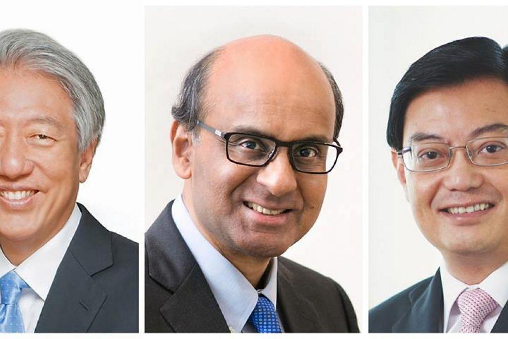 Encik Teo Chee Hean (kiri) dan Encik Tharman Shanmugaratnam (tengah) dilantik Menteri Kanan, sementara Encik Heng Swee Keat (kanan) dilantik Timbalan Perdana Menteri, berkuatkuasa 1 Mei ini.