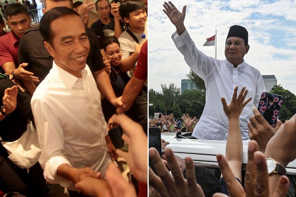 DI LANDASAN KEMENANGAN: Hasil penghitungan awal sejauh ini menunjukkan Presiden Jokowi (kiri) berada dalam keadaan selesa untuk memenangi pilihan raya presiden 2019, mengatasi pesaingnya, Encik Prabowo Subianto (kanan) dengan tanda-tanda awal turut menunjukkan kemungkinan kemenangan itu dengan majoriti yang lebih besar berbanding pilihan raya presiden 2014. - Foto EPA-EFE, AFP