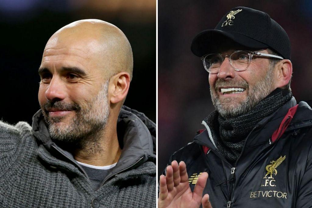 SIAPA AKAN MENANG: Mampukah Pep Guardiola atau Jurgen Klopp (kanan), muncul selaku Pengurus Liga Perdana England Musim ini. Keputusannya akan diumumkan Khamis depan. – Foto-foto EPA-EFE & AFP