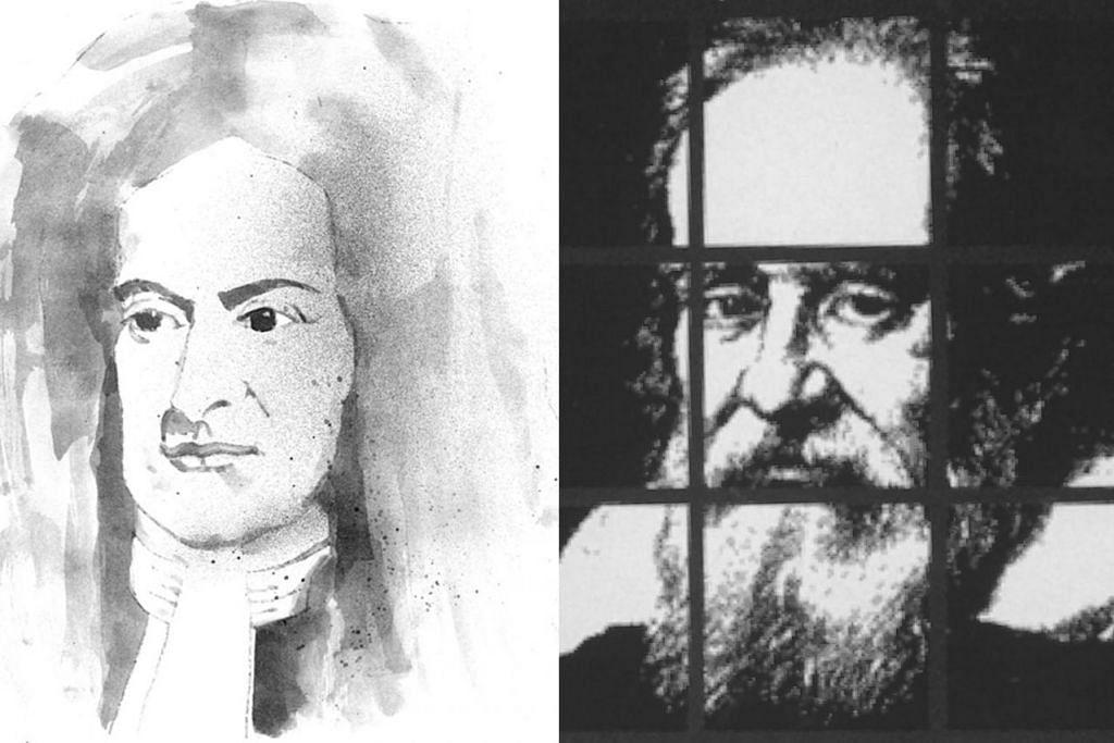 (Kiri) Newton; (Kanan) Galileo Galilei