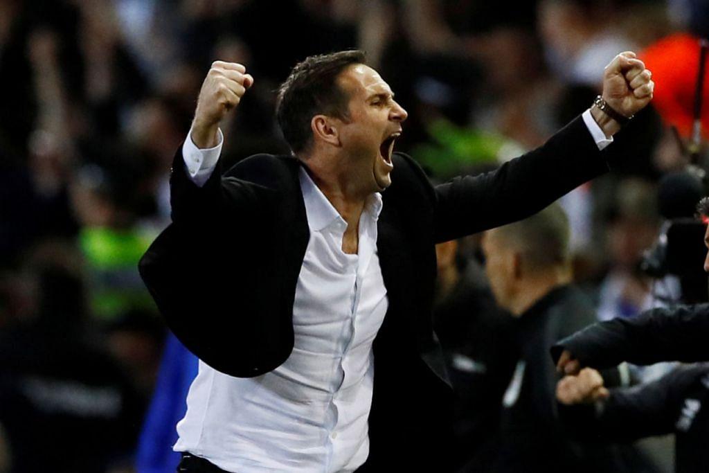 RAIKAN KEMENANGAN BESAR: Lampard tidak dapat menahan kegembiraannya selepas pengadil meniup wisel penamat yang menyaksikan pasukannya, Derby County, menang 4-2 ke atas Leeds United. - Foto REUTERS