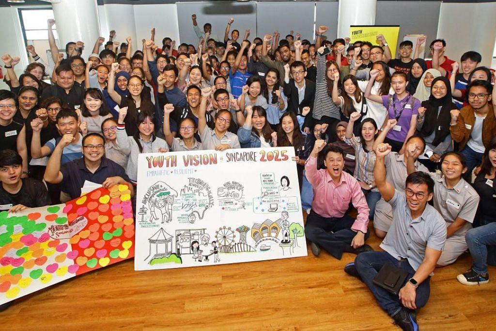 Cik Sim Ann (tengah) menyertai lebih 100 belia yang berkongsi visi mereka bagi Singapura pada 2025. FOTO: MCCY