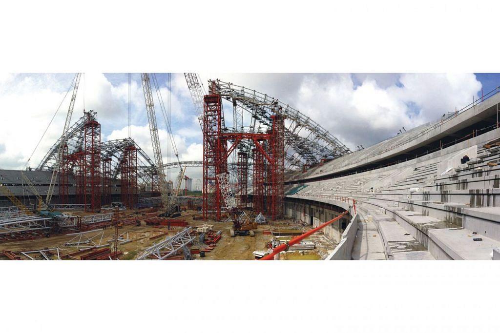BUAHKAN HASIL: Reka bentuk Hab Sukan Singapura berkonsepkan semangat Sukan Singapura, selaras dengan Visi 2030 yang mahukan semua rakyat di Singapura untuk melibatkan diri dalam acara sukan. Kejuruteraan reka bentuk ini diketuai oleh Arup yang merupakan pakar global dalam reka bentuk stadium. - Foto Fail