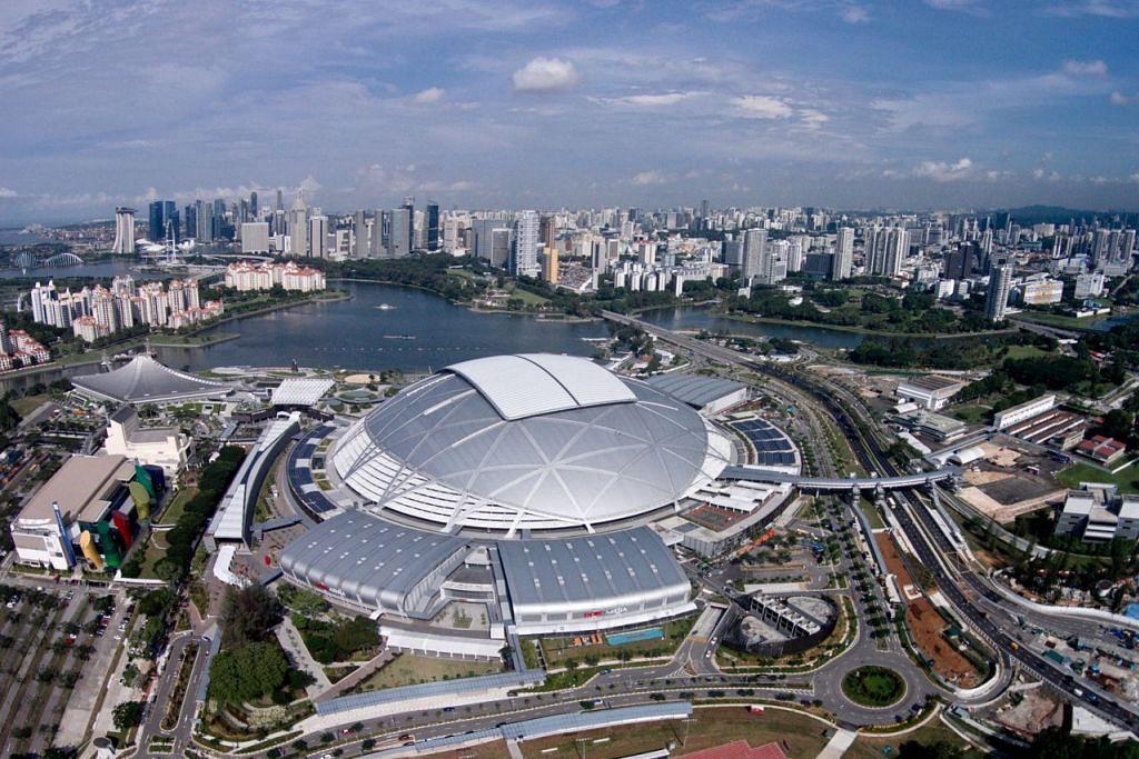 MEGAH TERSERGAM: Hab Sukan Singapura di Kallang. Ia merupakan satu contoh integrasi antara kejuruteraan dan fabrik sosial di Singapura.- Foto Fail
