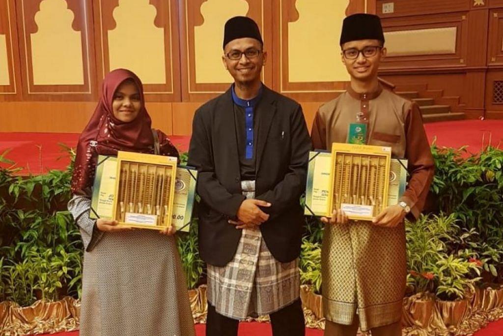 Ustazah Sumaiya Mohamed Faiz Maricar (kiri) dan Encik Muhammad Nurdarwis Anuar (kanan) wakil Singapura ke Brunei. FOTO: MUIS
