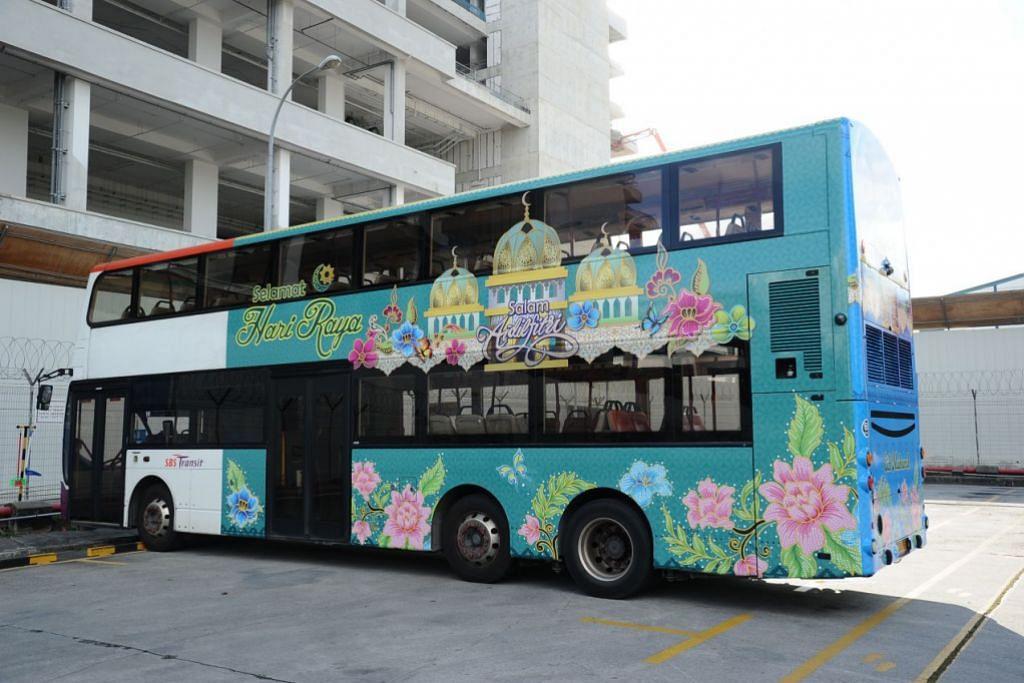TEMA RAYA: Penumpang bas dan MRT akan dapat melihat pelbagai reka bentuk bercorak batik, bunga dan kupu-kupu bersempena dengan Hari Raya tahun ini. – Foto LTA