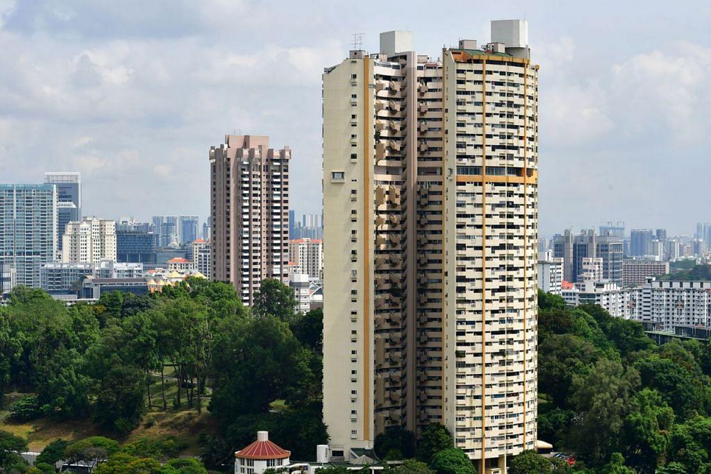 Yang menjadi - PEARL BANK APARTMENTS: Bangunan berbentuk ladam yang ikonik di Outram Road ini, Pearl Bank Apartments, telah pun dijual kepada CapitaLand pada harga $728 juta pada tahun lalu. - Foto fail