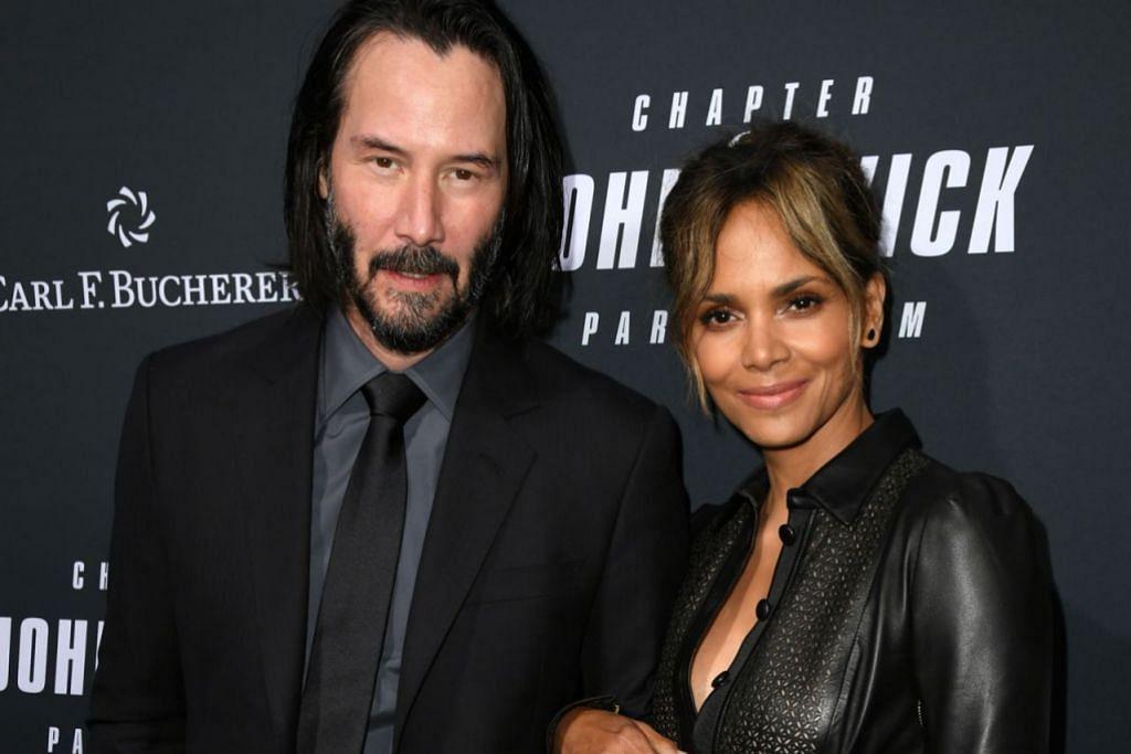 PECAH PANGGUNG: Keanu Reeves (kiri) dan Halle Berry menghadiri tayangan khas John Wick: Chapter 3 - Parabellum di Teater TCL, di Hollywood, California, baru-baru ini. - Foto AFP
