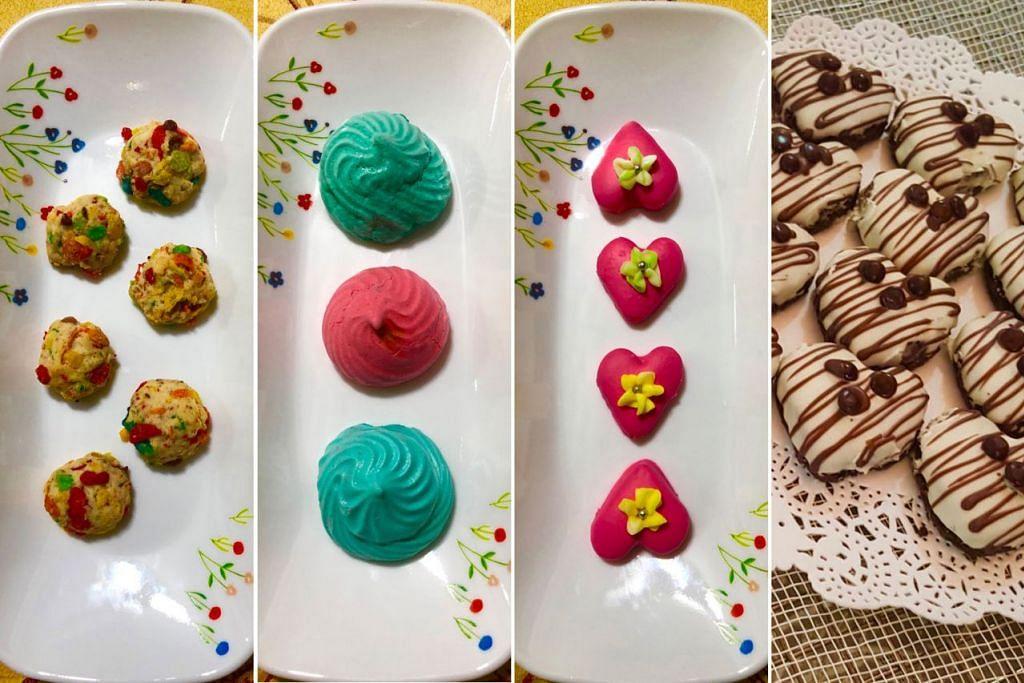 CONTOH KUIH RAYA MODEN: (Dari kiri) FRUITY CEREAL POPCORN COOKIES - Bijirin - Sirap jagung - Tepung biskut; RAINBOW MERINGUE - Putih telur - Gula aising - Tepung jagung; PUTERI PINKY - Tepung - Serbuk badam - Gula aising; DOUBLE CHOCOLATE MINT COOKIES - Coklat premium - Tepung biskut - Gula aising
