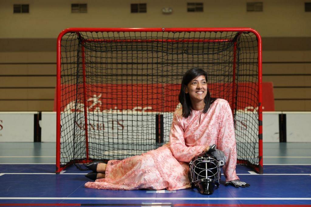 PELUANG SEIMBANG, SERLAH POTENSI: Pemain skuad kebangsaan wanita floorball, Fariza Begum Mohamad Zabir, berpendapat wanita juga harus diberi peluang masuk gelanggang yang sama dengan kaum lelaki agar dapat turut cemerlang dalam sukan. - Foto BM oleh ONG WEE JIN