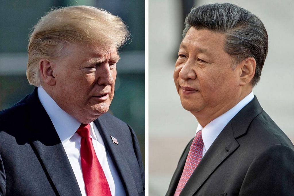 TIDAK SEPAKAT: Presiden Trump (kiri) sejak awal lagi telah mengkritik amalan dagangan China - kuasa besar ekonomi yang diterajui Presiden Xi (gambar kanan). - Foto-Foto REUTERS, AFP