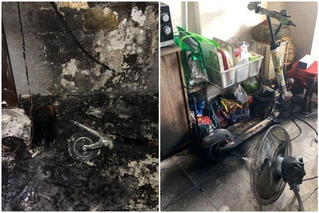 Dua kebakaran melibatkan bateri PMD yang sedang dicas dilaporkan semalam. FOTO: FACEBOOK/SCDF
