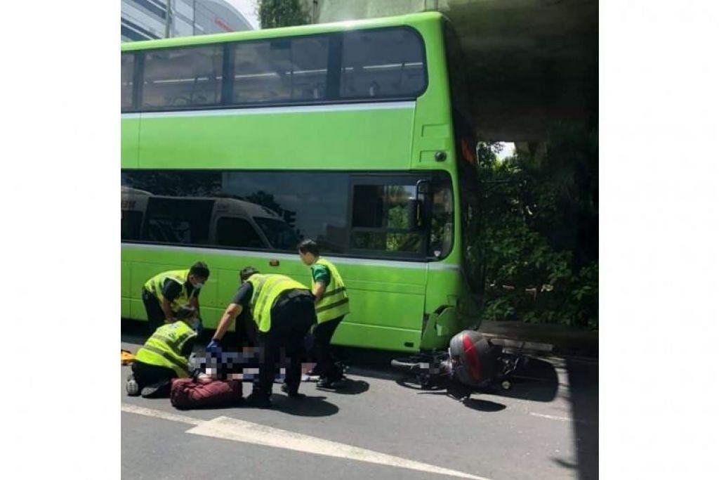 Seorang penunggang motosikal berusia 59 tahun meninggal dunia akibat kemalangan dengan bas Tower Transit tengah hari tadi di Jurong. FOTO: SG ROAD VIGILANTE/FACEBOOK