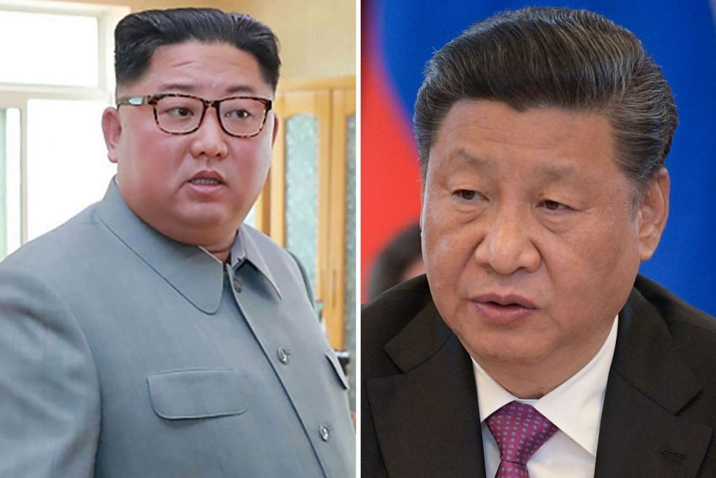 SEKUTU RAPAT: Encik Xi Jinping (kanan) dijangka bertukar-tukar pandangan dengan Encik Kim Jong Un (kiri) mengenai keadaan semenanjung Korea di tengah-tengah ketegangan baru antara Amerika Syarikat dengan Korea Utara mengenai usaha meminta Pyongyang melupuskan senjata nuklearnya. - Foto-foto AFP, REUTERS
