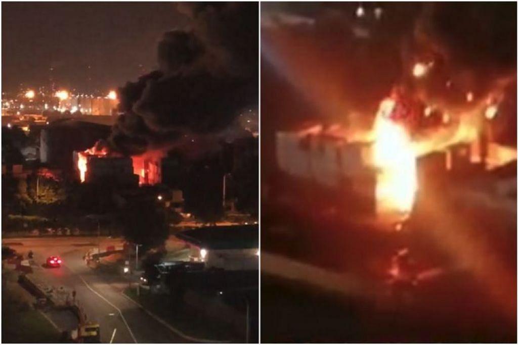 Kebakaran tersebut melibatkan bahan-bahan sekerap yang disimpan dalam 10 kontena di 5 Jalan Buroh. FOTO: FACEBOOK/ SAM NEOH, FACEBOOK/ SG CHINESE COMMUNITY