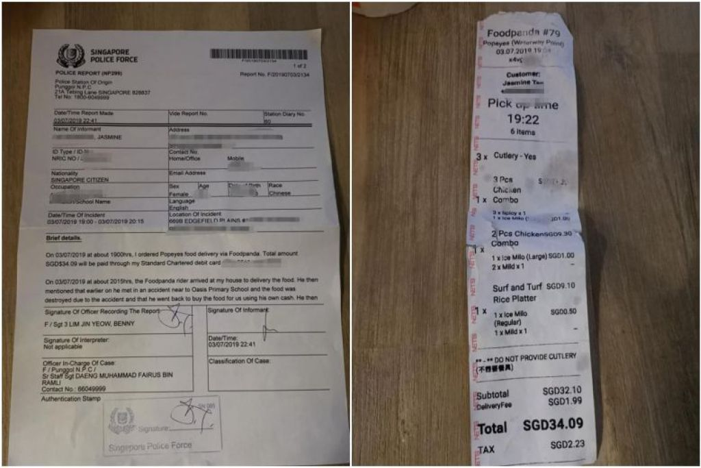 Cik Jasmine Tan membuat laporan polis setelah penghantar makanan Foodpandanya menyuruh beliau membayar dua kali bagi pesanannya. FOTO: JASMINE TAN/ FACEBOOK