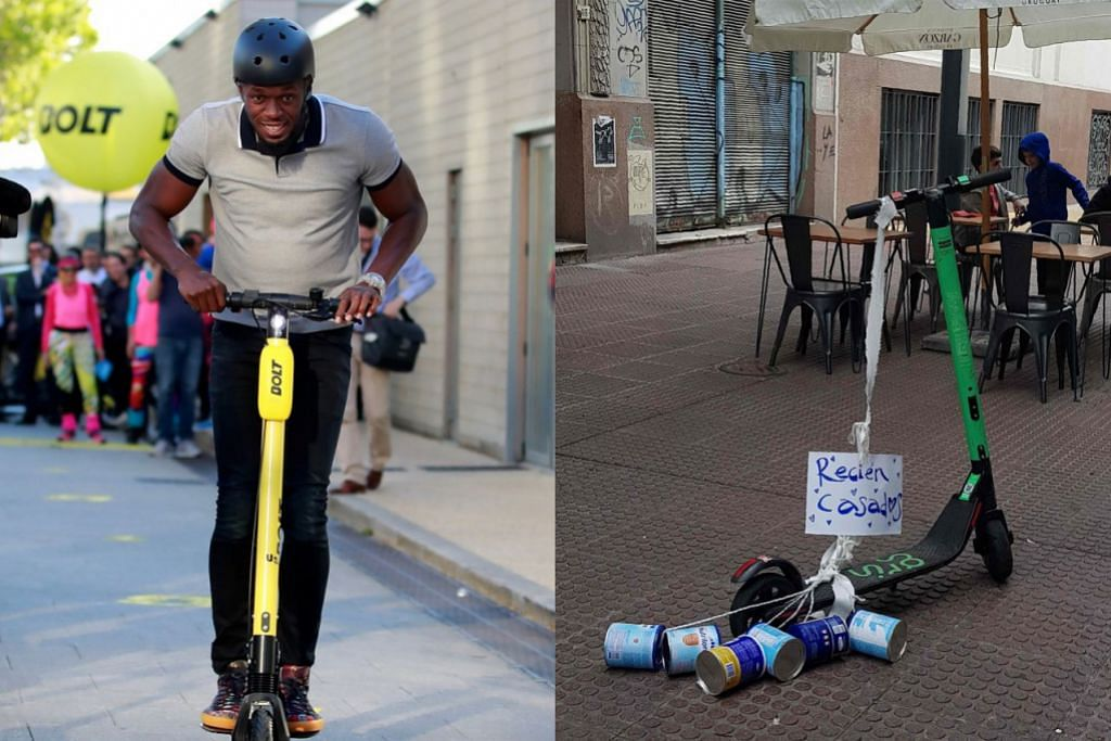 (Kiri) SIAPA LAJU: Bekas pelari pecut, Usain Bolt, menunggang e-skuter semasa pelancaran antarabangsa Bolt Electirc Scooters oleh Bolt Mobility di Paris. (Kanan) TEMPAT LETAK E-SKUTER: Sebuah e-skuter yang disewa dengan ucapan 'Baru Kahwin' dibiarkan di tempat pejalan kaki di Montevideo, Uruguay, pada 8 Mei lalu. Penggunaan e-skuter yang murah dan cepat mula membimbangkan keselamatan warga Amerika Latin. – Foto-foto REUTERS, AFP