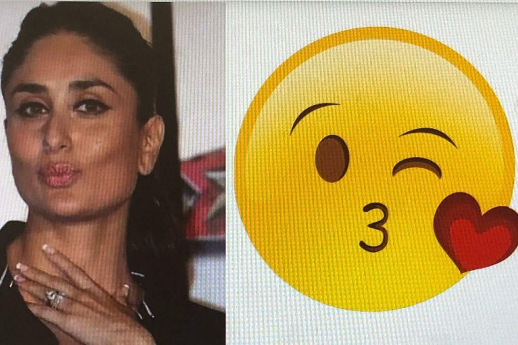 KAREENA KAPOOR: Sikap romantisnya yang tergambar dalam foto ini disamakan seperti emoji seseorang yang memberi kucupan. Beliau antara artis Bollywood yang gambarnya diguna seiringan Hari Emoji Sedunia di beberapa laman media sosial. – Foto TIMES OF INDIA