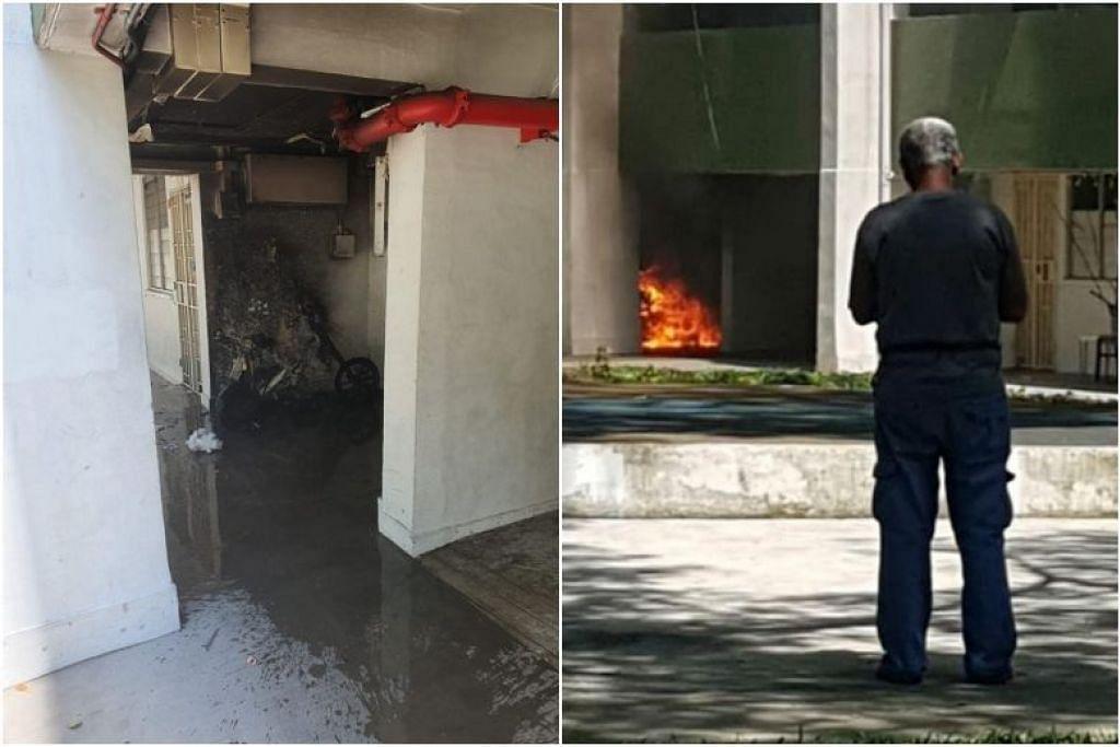 Kebakaran disebabkan PMD yang sedang dicas dapat dipadamkan penduduk di Boon Lay menggunakan beberapa baldi air. FOTO: FACEBOOK/ PATRICK TAY, GARNELL GLENN BERNARD