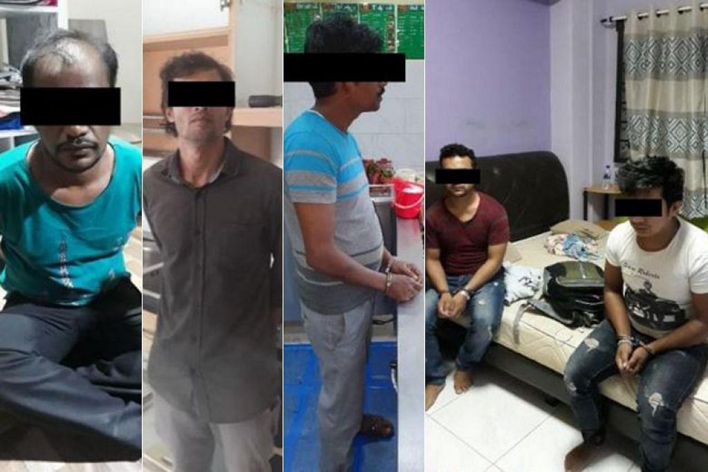 Seramai 21 suspek ditangkap bagi kesalahan berkaitan imigresen di serata Singapura antara 29 Julai 2019 dengan 1 Ogos 2019. - Foto ICA