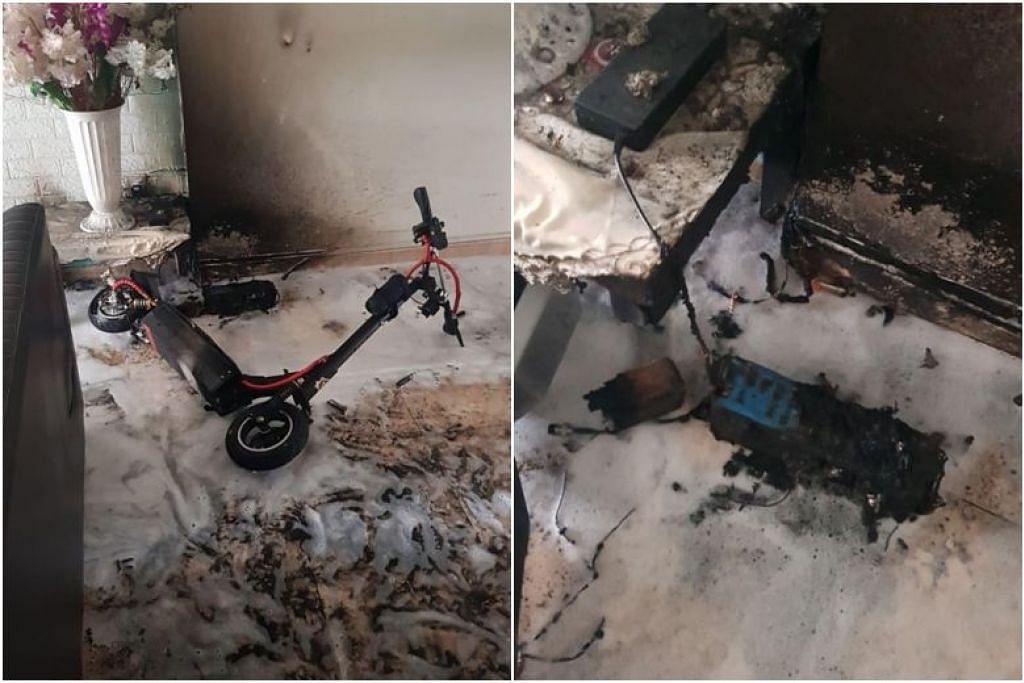 Siasatan awal menunjukkan bahawa kebakaran itu berpunca daripada sumber elekrikal PMD yang sedang dicas semasa kejadian tersebut berlaku.- Foto Facebook SCDF