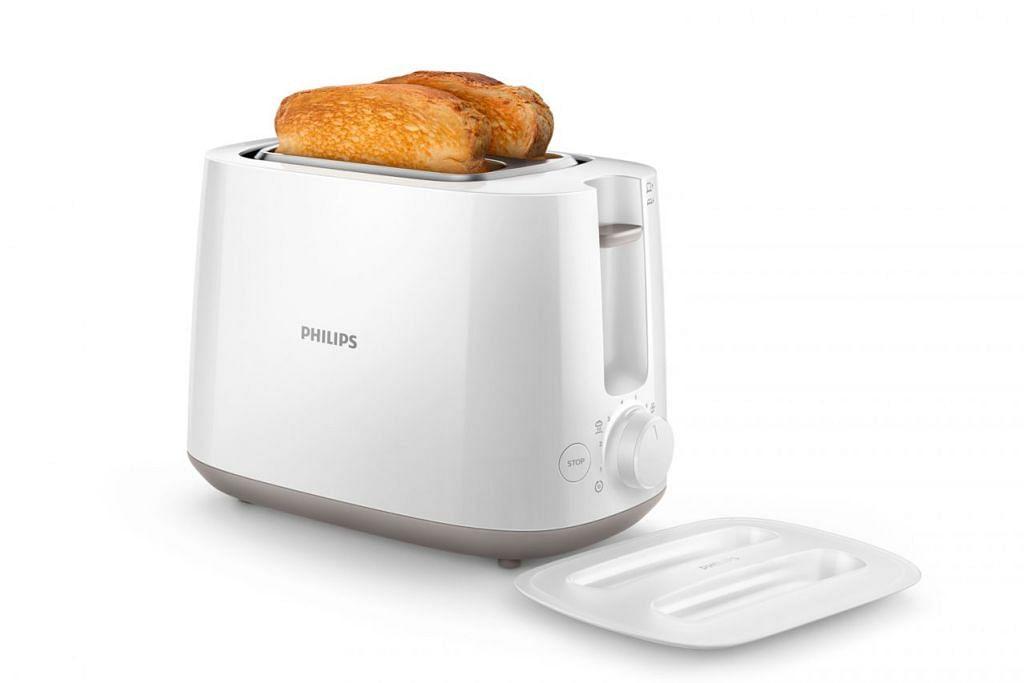 ANTARA PRODUK YANG BOLEH DIMENANGI: Periuk nasi Philips, pembakar roti Philips (atas), seterika EasySpeed Philips dan jam radio dengan cermin Philips. – Foto PHILIPS