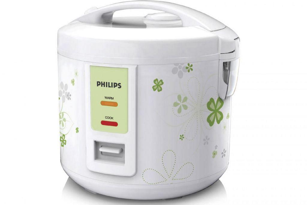 ANTARA PRODUK YANG BOLEH DIMENANGI: Periuk nasi Philips (atas), pembakar roti Philips, seterika EasySpeed Philips dan jam radio dengan cermin Philips. – Foto PHILIPS