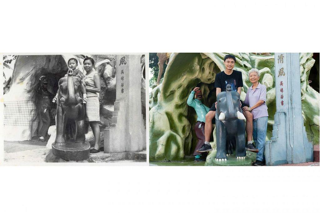 SINGKAP KENANGAN: Gambar lama Encik Koh Tong Wey dan Cik Loh Yin Yeok di Haw Par Villa bersebelahan dengan gambar mereka berdua kini. Ia dirakamkan oleh Cik Deanna Ng. – Foto KOH NIA CHUAN/DEANNA NG