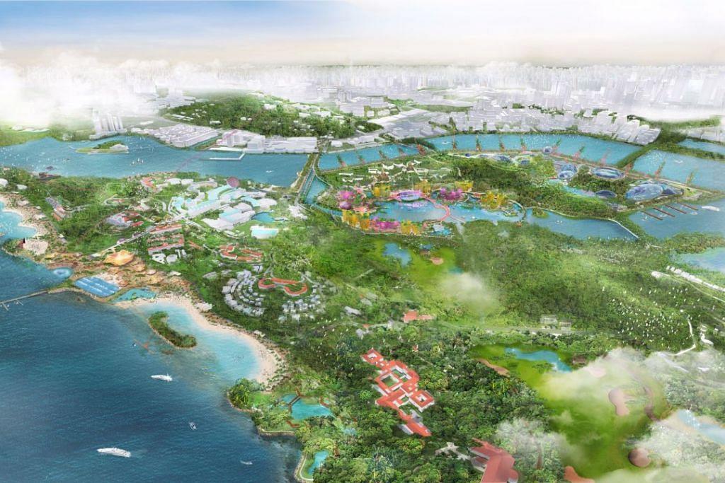 PULAU BRANI DIBANGUN SEMULA: Pulau Brani bakal dibangun semula sebagai pulau riadah, dan akan memuatkan tempat riadah bagi pekerja, seperti Downtown East di Pasir Ris.  - Foto Kementerian Perhubungan dan Penerangan (MCI).