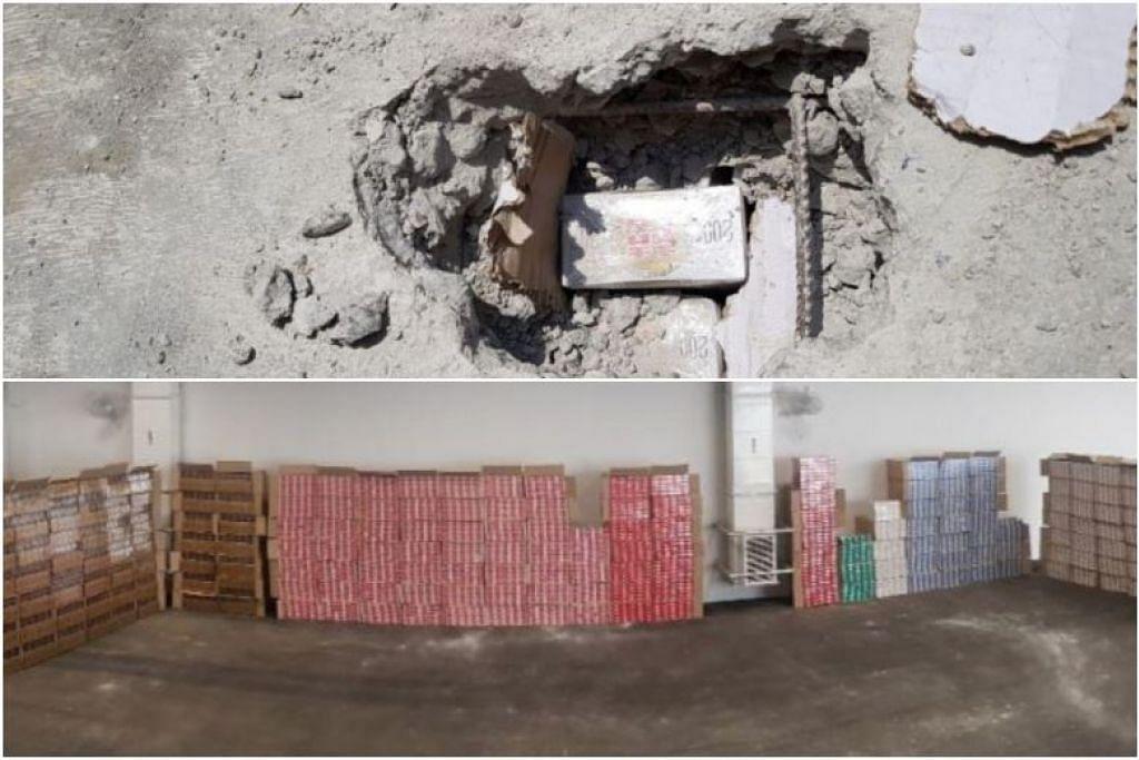 CUBA ELAK CUKAI: Pegawai pemeriksaan mendapati keganjilan pada blok-blok konkrit itu, lalu mengambil keputusan untuk menggerudi lubang ke dalamnya, di mana mereka menemui karton rokok yang tersembunyi. -Foto ICA.