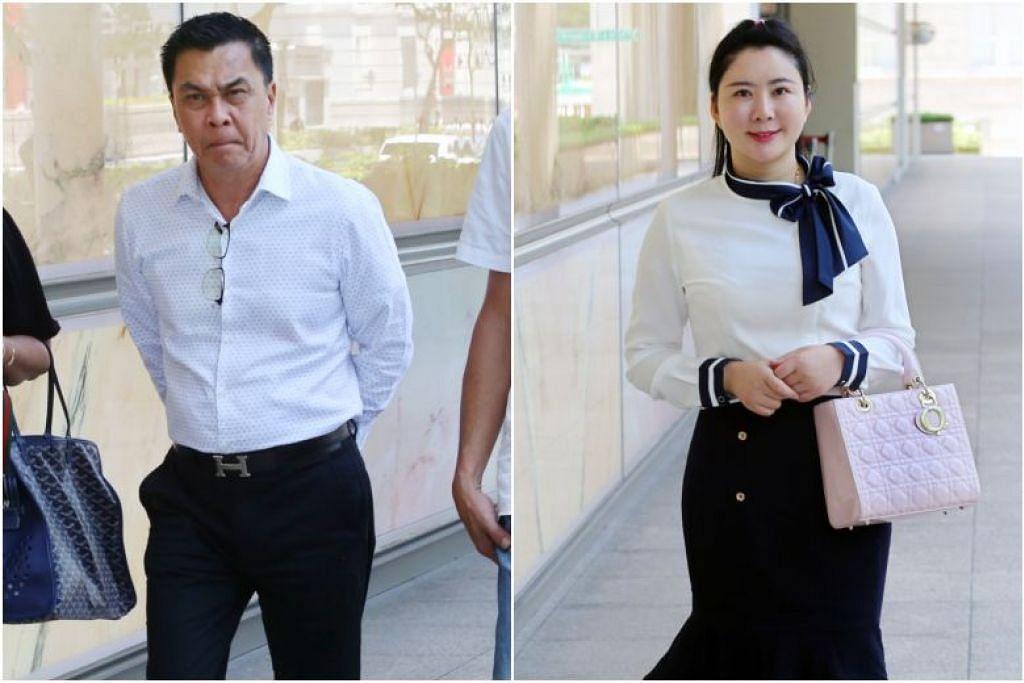 KES DIBUKA DI MAHKAMAH: Encik Toh (kiri) yang telah membayar $2 juta kepada perempuan simpanannya, Cik Jiang (kanan), dalam tempoh tiga bulan telah menyaman wanita tersebut untuk mendapatkan kembali wang itu. -Foto LIANHE ZAOBAO.