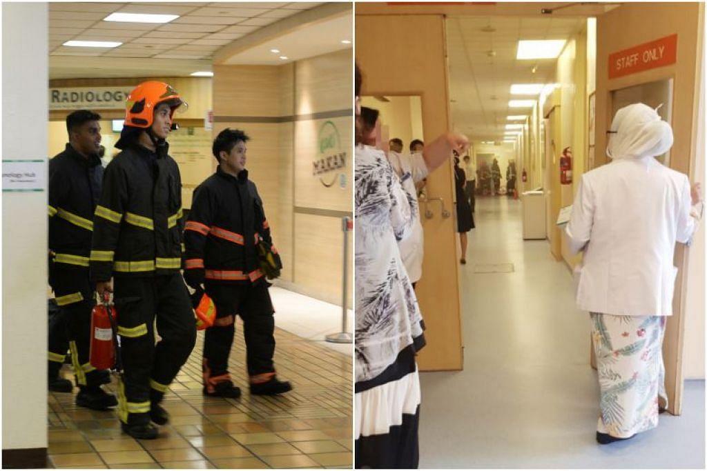 KEBAKARAN DI SGH: Walaupun api padam dengan sendirinya sebelum pihak SCDF tiba, pegawai bomba tetap perlu memindahkan 70 orang dari kawasan tersebut, sebagai satu langkah keselamatan. -Foto SHIN MIN DAILY NEWS.