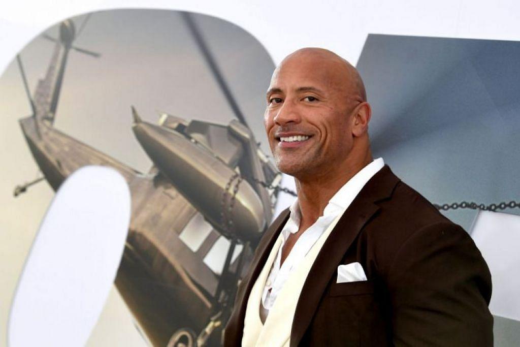 PELAKON DIBAYAR PALING TINGGI: Dwayne Johnson menduduki tempat teratas dalam senarai tahunan pelakon yang dibayar paling tinggi di dunia terbitan majalah Forbes, dengan bayaran sebanyak AS$89.4 juta. -Foto AFP.