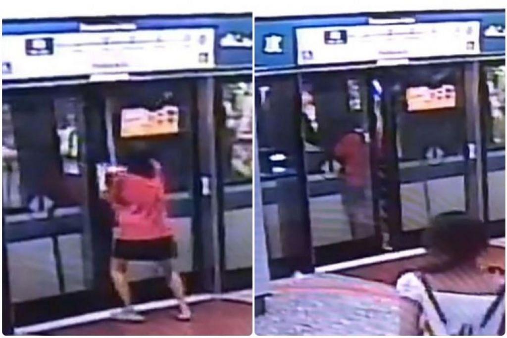 MEMAKSA PINTU MRT SUPAYA DIBUKA: Seorang wanita dilihat sedang memaksa pintu supaya dibuka dan kemudian terperangkap sebentar di antara pintu MRT dengan pintu platform. -Foto: YOUTUBE/AH XIONG
