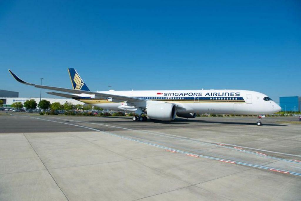 LANGSUNG KE SEATTLE: Pesawat SIA  jenis Airbus A350-900 digunakan untuk penerbangan tanpa henti yang pertama dari Singapura ke Seattle, pada pagi Selasa. -Foto SIA.
