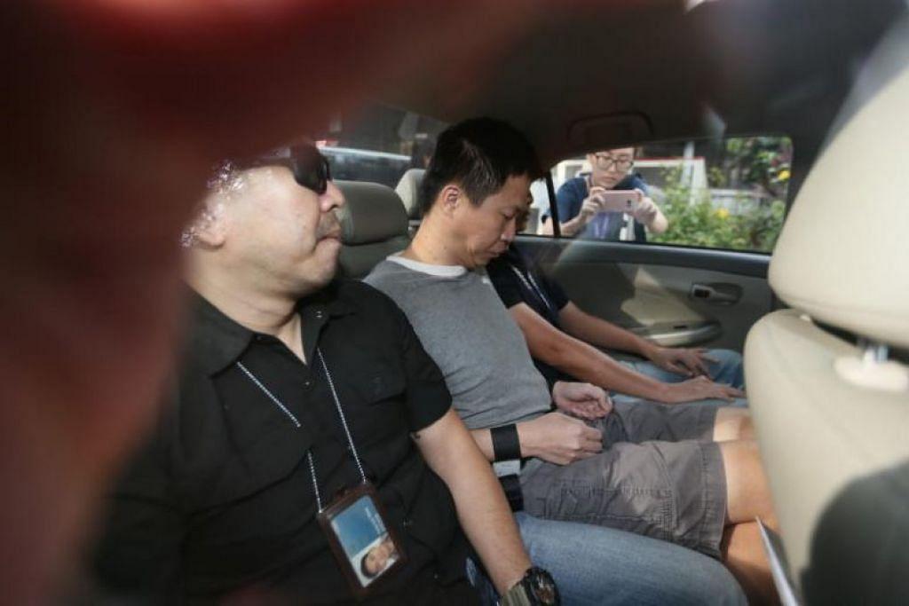 HADAPI HUKUMAN:  Allen Vincent Hui Kim Seng (tangan digari), 47 tahun, akan dijatuhkan hukuman pada 18 September, atas kesalahan telah mengupah orang untuk membunuh pasangan bekas kekasihnya. -Foto fail.