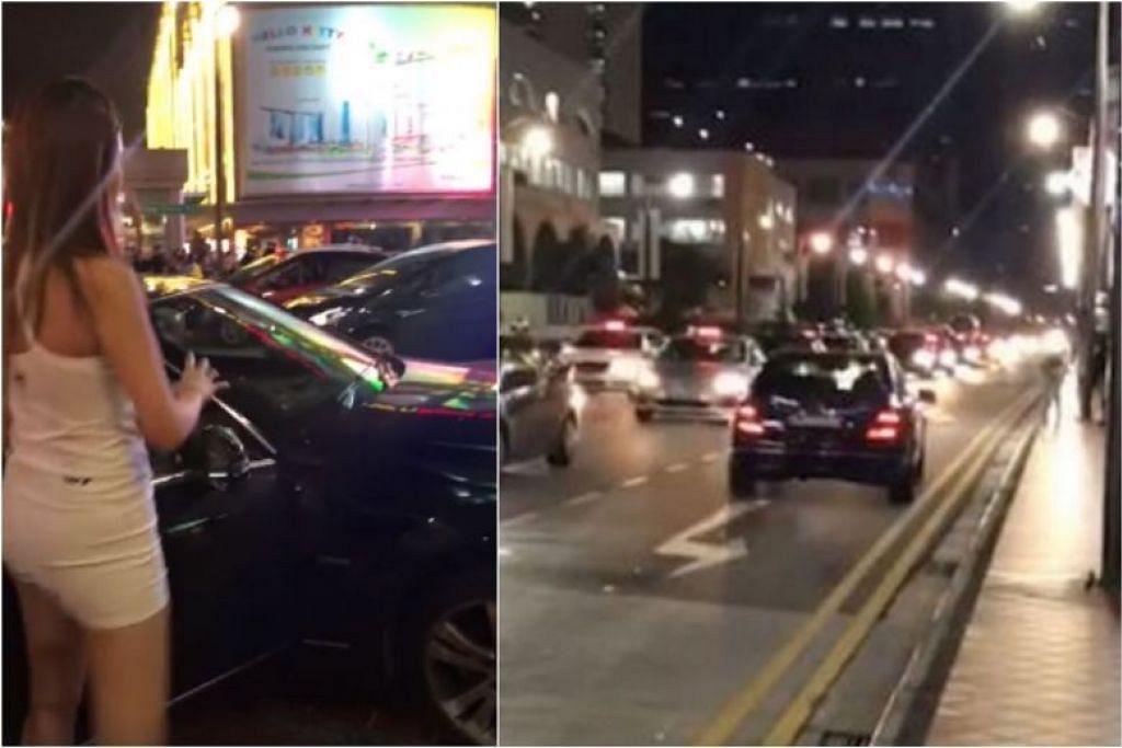 LAWAN ALIRAN LALU LINTAS: Video menunjuk wanita pandu Mercedes-Benz sambil bertentangan dengan aliran lalu lintas di lorong paling kiri. -Foto: SCREENGRAB DARI FACEBOOK VIDEO/ SG ROAD VIGILANTE