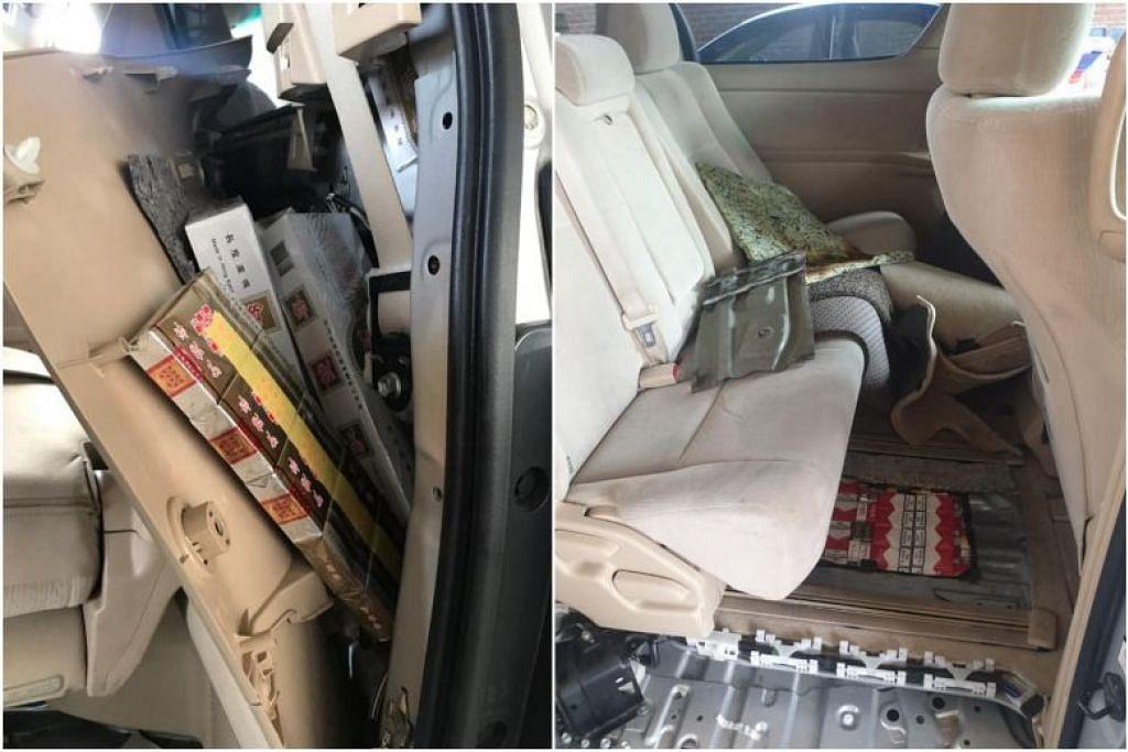 DIRAMPAS:  Sejumlah 412 karton dan 640 paket rokok tanpa cukai, yang disembunyikan di bahagian bawah kereta, dan di bahagian belakang kanan kereta yang telah diubah suai, dirampas oleh ICA pada Ahad. -Foto ICA/FACEBOOK.