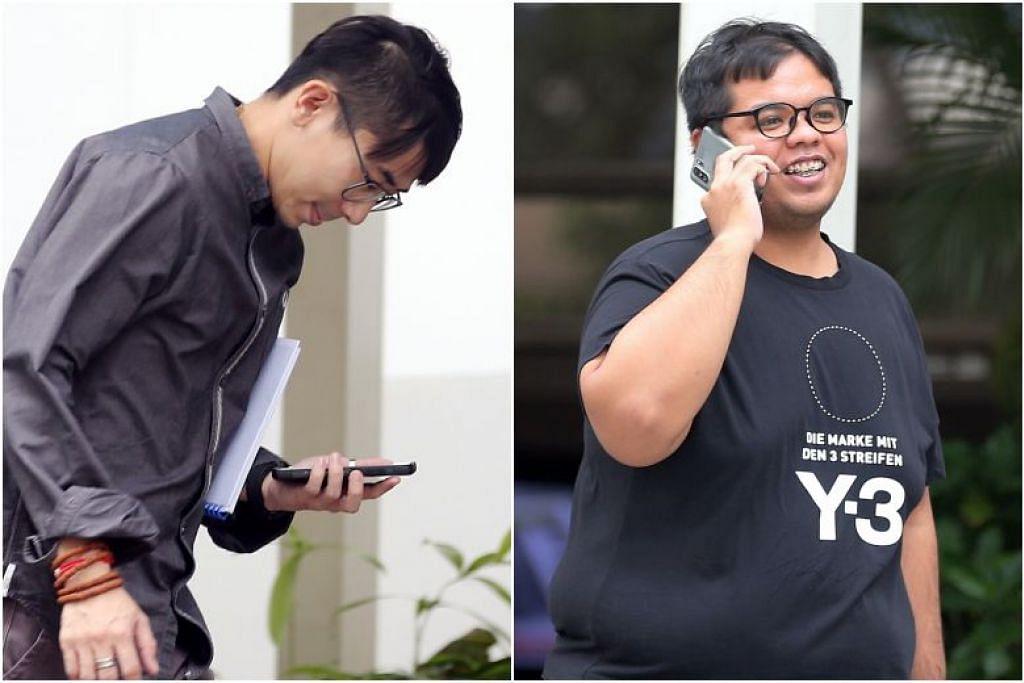 Goh Tze Ming (kiri) dan Khairulanwar Ismail dipenjara lima minggu dan setiap orang didenda $ 1,500 untuk perlumbaan secara haram. -Foto WONG KWAI CHOW