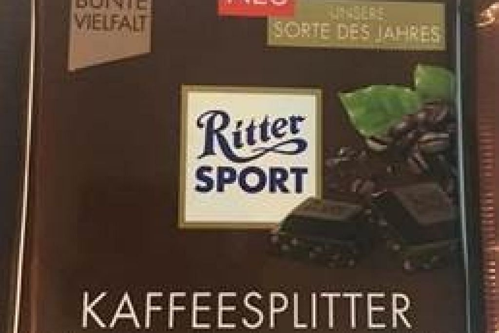 """DITARIK BALIK: Coklat """"Ritter Sport KAFFEESPLITTER"""" ini telah ditarik balik oleh Agensi Makanan Singapura (SFA), kerana ia mengandungi produk allergen (susu) yang tidak diisytiharkan. -Foto SFA."""