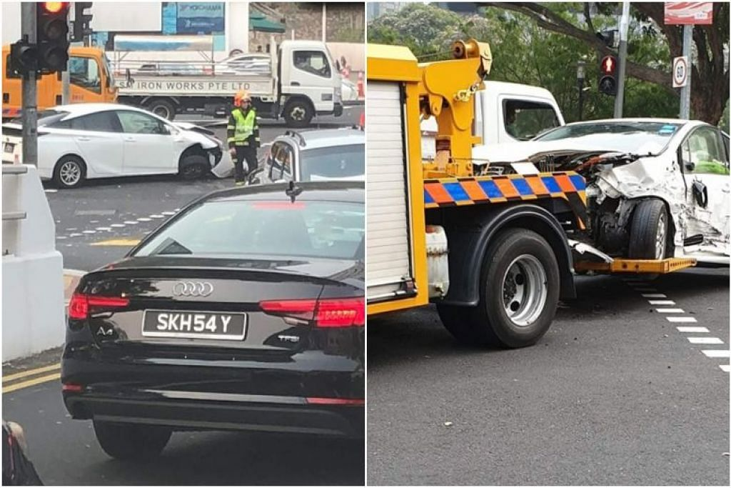 KEMALANGAN DI HAVELOCK ROAD:  Empat orang dibawa ke hospital selepas satu kemalangan yang melibatkan dua kereta dan sebuah van, di persimpangan Havelock Road dan Saiboo Street pada pagi Rabu (18 September). -Foto ROAD ACCIDENT. SG/FACEBOOK.