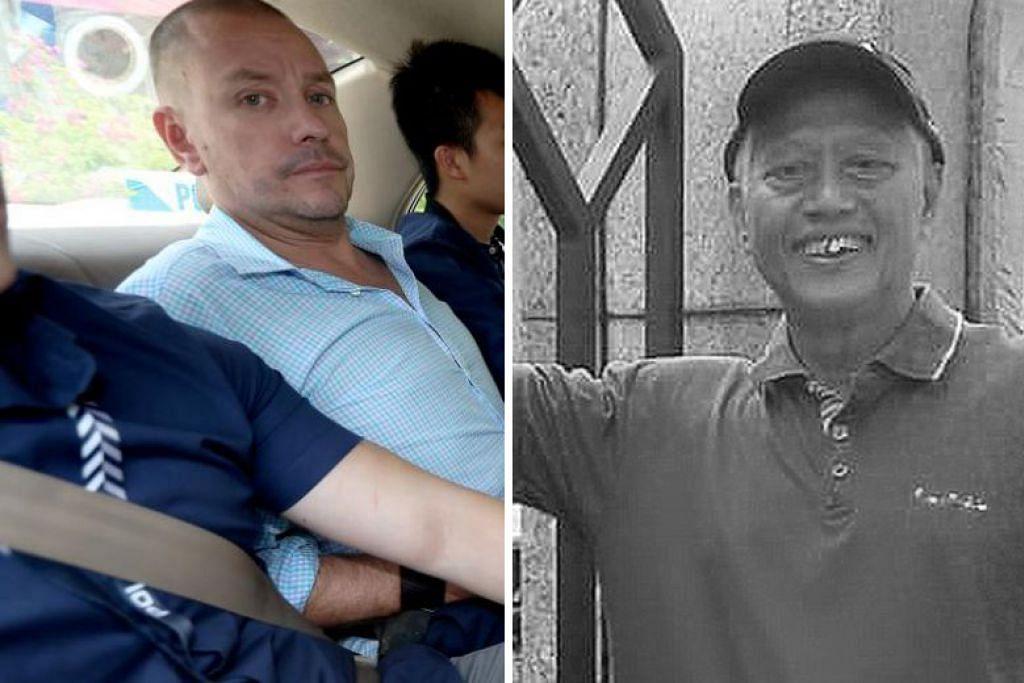 Allahyarham Encik Nasiari (kanan) meninggal dunia akibat botol gelas yang dibuang oleh Andrew Gosling (kiri) dari tingkat tujuh di kondomonium Spottiswoode Park Road. - Foto fail.