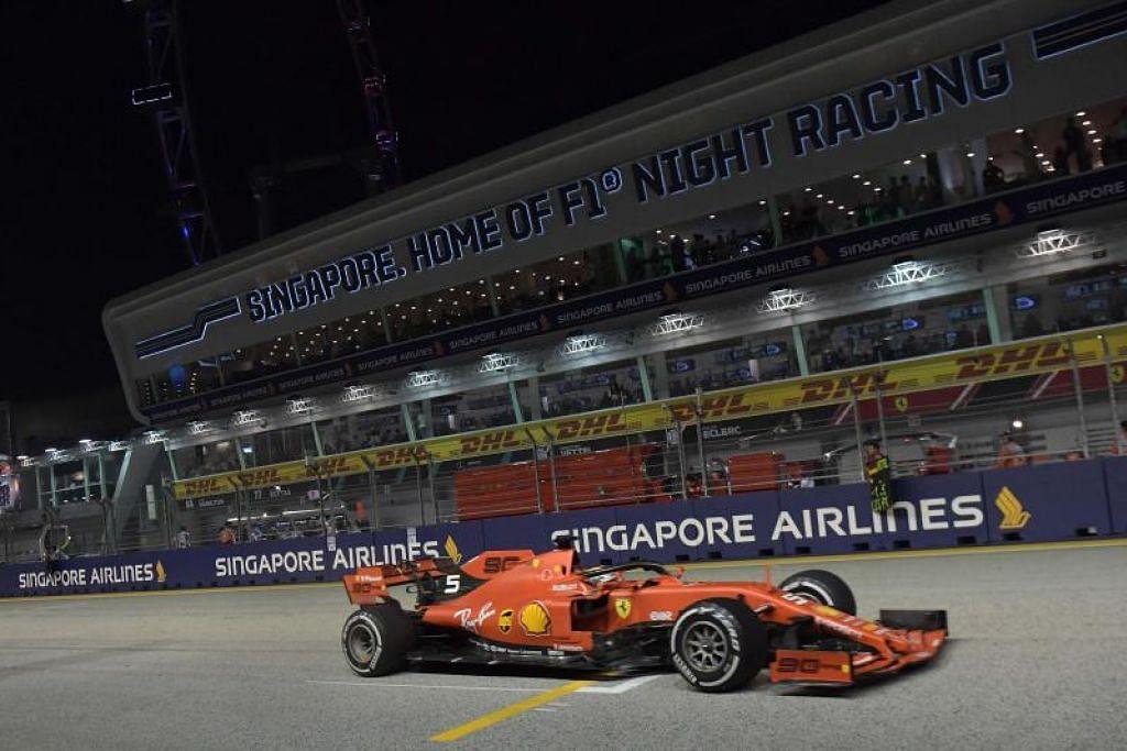 Ferrari berjaya menguasai Litar Marina Bay. -Foto: AFP