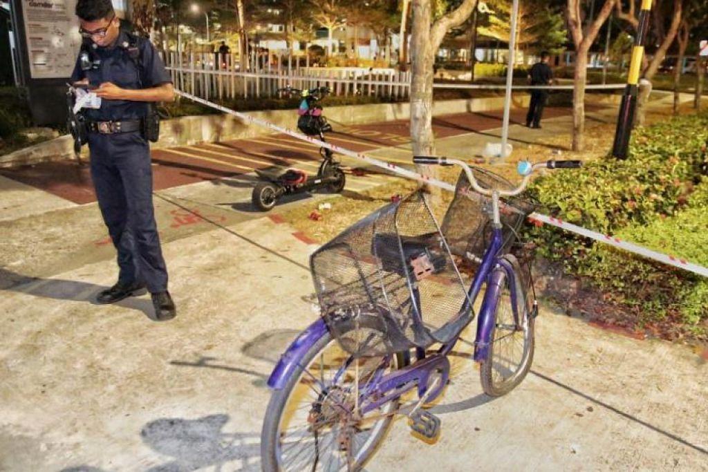 Madam Ong cedera parah akibat terlanggar e-skuter. -Foto: SHIN MIN DAILY NEWS.